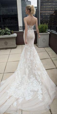 inbal dror 2016 wedding dress with strapless sweetheart lace mermaid wedding dress nude train style 17 bkv train