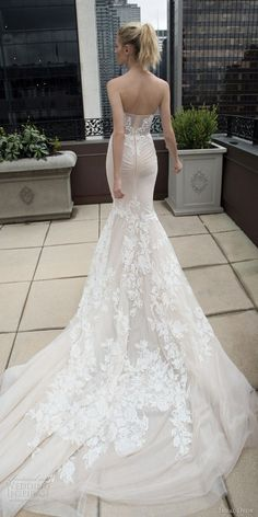 inbal dror 2016 wedding dress with strapless sweetheart lace mermaid wedding dress nude train style 17 bkv train