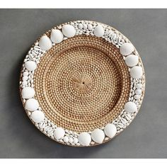 Pottery Barn Shell-Rimmed Charger ($20) ❤ liked on Polyvore featuring home, kitchen & dining, dinnerware, fiesta dinnerware, pottery barn dinnerware, rattan charger plates, rattan chargers and pottery barn