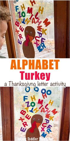 Alphabet Turkey Activity - HAPPY TODDLER PLAYTIME Giant Turkey Craft is a super fun art activity perfect for little and big kids this Thanksgiving! Paint giant turkey feathers with your feet! #earlylearning #thanksgivingcrafts #alphabetactivities