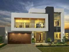 Modern One Story House with 2 bedrooms, 2 bathrooms suitable for small family to medium size house designed in Modern House style resort. The emphasis is on the modern style and the layout of the home [. Design Exterior, Facade Design, Modern Exterior, Architecture Design, Stucco Exterior, Grey Exterior, Exterior Cladding, Villa Design, Small House Design