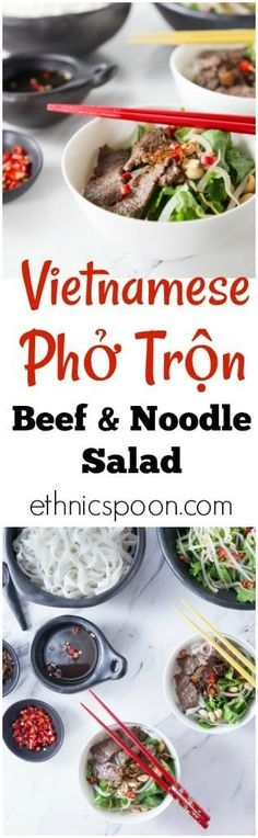 You will love this cool salad with authentic Vietnamese flavors! Vietnamese Beef Noodle Salad (Phở Trộn) is a delicious recipe for noodle salad mostly eaten during the hot summers in Hanoi or anywhere when you need a cool dish for lunch or dinner. Easy Salad Recipes, Easy Salads, Easy Dinner Recipes, Asian Recipes, Beef Recipes, Ethnic Recipes, Noodle Salad, Pasta Salad, Beef Salad