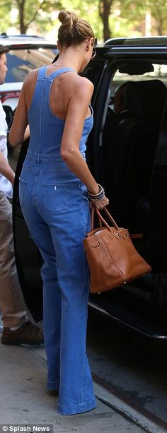 Do it in denim dungarees by Stella McCartney #DailyMail Click 'Visit' to buy now