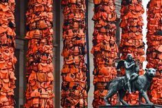 An art installation by Chinese artist Ai Weiwei consists of life vests worn by refugees and is bound to the columns of the concert house in Berlin, Germany. The life vests were among the thousands discarded by migrants and refugees after they crossed the sea from Turkey to Greece. Up to 80,000 refugees currently live in Berlin and the city is preparing for the likely arrival of 30,000 more in 2016.