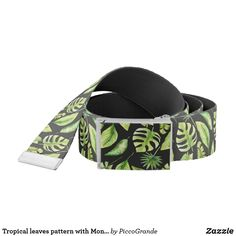 Tropical leaves pattern with Monastera on black Belt Metal Belt, Tropical Leaves, Black Belt, Black Backgrounds, Belt Buckles, Gifts For Him, Kids Fashion, Casual Outfits, Guys