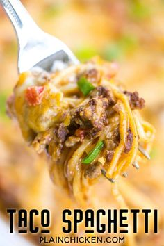 Taco Spaghetti - THE BEST!Ready in 30 minutes! Taco meat, velveeta, diced tomatoes with green chilies, spaghetti, cream of chicken soup and cheddar cheese. Everyone cleaned their plates - even our picky eaters! Our favorite Mexican casserole! Casserole Spaghetti, Taco Spaghetti, Spaghetti Recipes, Cheese Spaghetti, Spaghetti Squash, Mexican Chicken Spaghetti, Baked Spaghetti, Mexican Casserole, Casserole Recipes