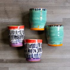 We are so excited about these bright tumblers from Ginny Sims, it was hard not to keep them for ourselves! These handle-less mugs fit perfectly in the hand for a warming winter beverage. 8 colorways, comes as a set of 2.