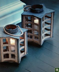 Star-shaped candle holders. Great for summer decorating on your porch