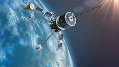 Grafické vyobrazení ruské telekomunikační a navigační družice globálního systému Goněc-M. Obrázek: Zdroj Roscosmos