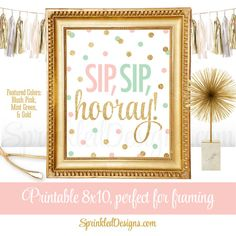 Sip Sip Hooray - Sip N See Party Sign, Baby Shower Sign, Monograms & Mimosas Bridal Shower Decor, Blush Pink Mint Gold Glitter Printable by SprinkledDesigns.com