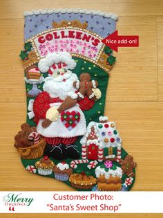 Santa's Sweet Shop bucilla kit ~ customer photo with nice creative adjustment.