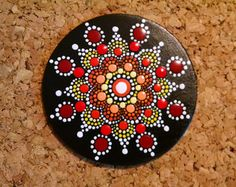 Wood Magnet~ Hand Painted by Miranda Pitrone  Coral and Burgundy Wine Flower Mandala /Gift Idea Boho Dot Art