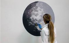 Paint-mural-blog-crop Moon Painting, Mural Painting, Diy Painting, Halloween Moon, Halloween Window, Space Themed Nursery, Nursery Themes, Interior Paint Colors, Picts
