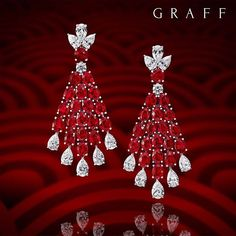 Celebrate Chinese New Year ☆Year of the Rooster☆ with a pair of magnificent ruby and diamond earrings; a cascading display of colour and light (Diamonds: Rubies: Graff Diamonds ☆ Graff Jewelry, Red Jewelry, High Jewelry, Luxury Jewelry, Bridal Jewelry, Vintage Jewelry, Lotus Jewelry, Gold Diamond Earrings, Ruby Earrings