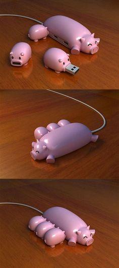 LOL!! Pig USB Hub - oink oink