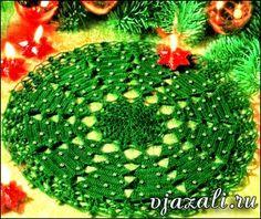 Carpeta con arboles de navidad tejida al crochet