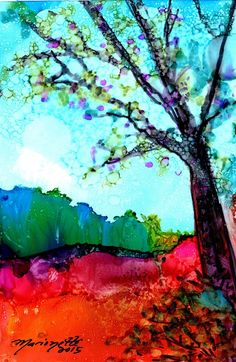 Original Alcohol Inks on Yupo Painting Tree by kauaiartist on Etsy