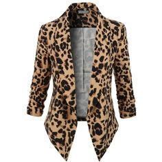 LE3NO Womens Leopard Print 3/4 Sleeve Draped Open Front Blazer ($27) ❤ liked on Polyvore featuring outerwear, jackets, blazers, blazer jacket, leopard blazers, open front blazer, three quarter sleeve blazer and leopard print jacket