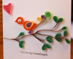 My Tweetheart Bird on Branch Quilled Card from etsy artist SweetSpotCardShow