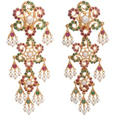 Very Long Chandelier Earrings w/ C. Pearl, Ruby, Emerald ❤ liked on Polyvore featuring jewelry, earrings, accessories, brincos, emerald chandelier earrings, pearl jewelry, chandelier earrings, emerald earrings and ruby emerald earrings