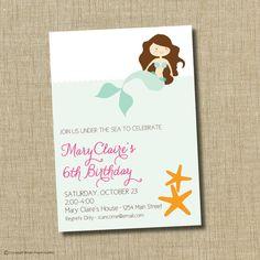 Mermaid birthday party invitation mermaid by brownpaperstudios