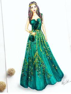 Dress Design Sketches, Fashion Design Drawings, Fashion Sketches, Dress Illustration, Fashion Illustration Dresses, Fashion Illustrations, Fashion Moda, Fashion Art, Moda Chic
