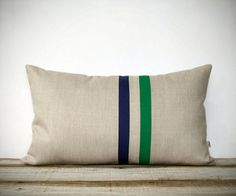 Kelly Green and Navy Striped Pillow by Jillian Rene Decor - contemporary - pillows - by Etsy