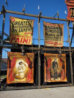 Freak show Circus Posters Freak Show Halloween, Halloween Circus, Halloween Haunted Houses, Halloween Themes, Halloween Party, Halloween Inspo, Creepy Circus, Creepy Carnival, Creepy Clown