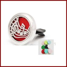 Stainless steel Music pattern magnetic round aromatherapy essential oil Car diffuser locket pendant