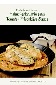 Chicken Breast in a Tomato Cream Cheese Sauce - Too Lazy to Cook? - Simple chicken breast recipe with a creamy tomato cream cheese sauce Simple chicken breast recipe w - Grilling Recipes, Crockpot Recipes, Chicken Recipes, Recipe Chicken, Cream Cheese Sauce, Sauce Tomate, Breast Recipe, Evening Meals, Dinner Recipes