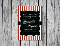 Striped Engagement Party Invitation by RejoiceGraphics on Etsy