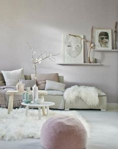 Lovely soft grey, white and blush tones - living room decor