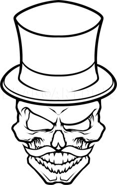 Draw a Gentleman Skull, Step by Step, Drawing Sheets, Added by . Draw a Gentleman Skull, Step by S Easy Skull Drawings, Badass Drawings, Demon Drawings, Dark Art Drawings, Pencil Art Drawings, Art Drawings Sketches, Tattoo Drawings, Simple Skull Drawing, Easy Graffiti Drawings