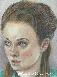 ACEO GAME OF THRONES Sansa Stark  Original Portrait Sketch Card by MIRACLE  #Miniature