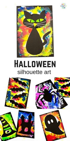 Arty Crafty Kids Silhouette Halloween Art for Kids. Choose from a selection of Halloween Template to create brightly coloured works of art! Deco Porte Halloween, Halloween Tags, Halloween Kunst, Moldes Halloween, Halloween Art Projects, Halloween Templates, Theme Halloween, Halloween Arts And Crafts, Manualidades Halloween