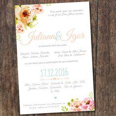 Floral aquarelado #convite #Convitedecasamento #Convitefloral #Casamento #Casamentoperfeito #Casamentocoral #Casamentonocampo