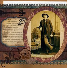 Legacy, pg. 1 ~ Striking two page heritage layout with a pocket page for the family history.