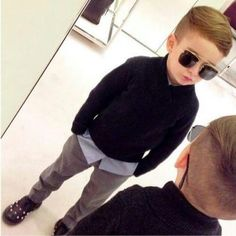 If I had a boy, he'd be rocking a look similar to this. Hair and all.