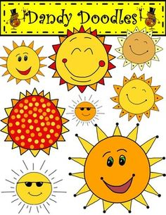 I've been guilty of using the same sun in my TpT products so I finally made some new ones!  This set features 12 PNG images (8 color and 4 BW) of fun, colorful suns.  They will look great on covers and are perfect to embellish products any time of the year!