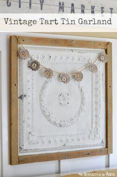 i like the framed ceiling tileVintage Tart Tin Garland