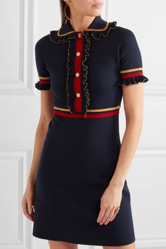 GUCCI --- Faux pearl-embellished ruffled wool-blend mini dress --- €1,800 --- Love it, minus the collar. And as usual: way too short. /// Navy, red and gold wool-blend Concealed snap fastenings along front 93% wool, 7% polyester; trim: 70% rayon, 30% metallized fiber Dry clean Made in Italy