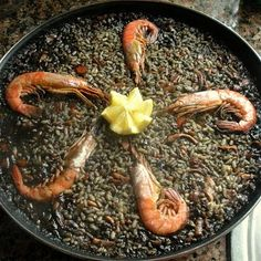Black paella (tinted with calamari's ink). Well, it was twice I've eaten it. Still delish!