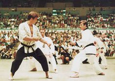 Two martial arts greats square off--Joe Lewis and Chuck Norris.