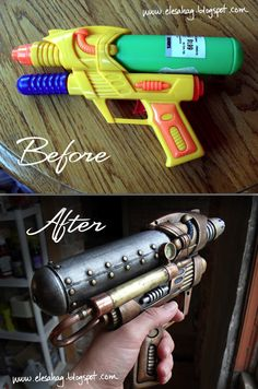 DIY steampunk gun I will def do this and prolly put it in a shadow box- great…