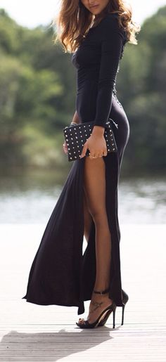 High side slits maxi dress! Sexy! Women's fall winter fashion clothing outfit for dates going out