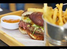 Road Food Good Eats| Serafini Amelia| Fresh Meat: New LA Cheeseburgers| Towne- 705 W. 9th St.  Los Angeles, CA 90015  Pictured: Ground Brisket Burger - onion marmalade, Tellagio, pretzel bun. $12
