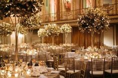 Held on October 5, the evening included a dinner-dance at the Hilton Chicago. In the ballroom, lush golden trees from HMR Designs stood as centerpieces.