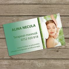 Simple single side green massage therapist business card template designed for Alina Necula.