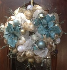 Shabby Chic Christmas Wreath by HertasWreaths on Etsy, $155.00