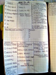 Weekly Bullet Journal and Summer Schedule